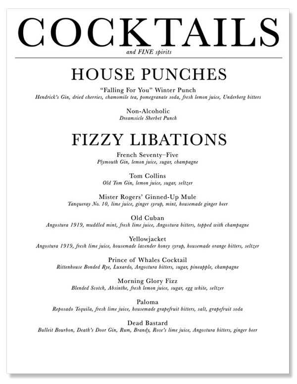 A fine design cocktail menu westervin for Best cocktail party menu