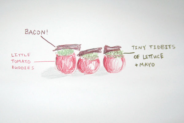 illustration of inside-out BLT's recipe