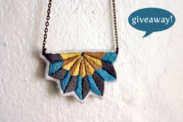 blog giveaway embroidered necklace from marañón