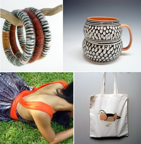 Handmade jewelry, ceramics, clothing and accessories