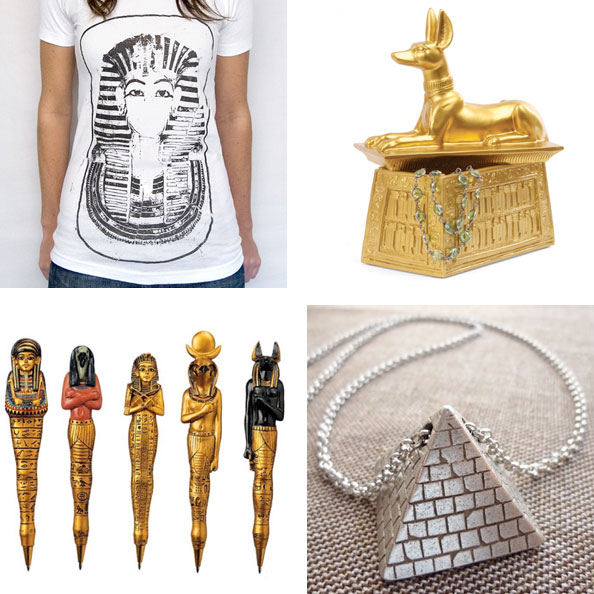 ancient egyptian inspired shirt, pen, necklace and jewelry box