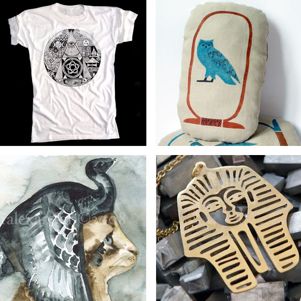 ancient egyptian inspired shirt, pillow, art and necklace