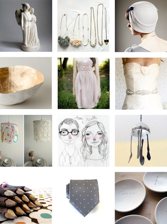 handmade items from Etsy; wedding collection