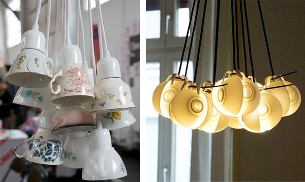 repurposed teacup hanging light fixtures