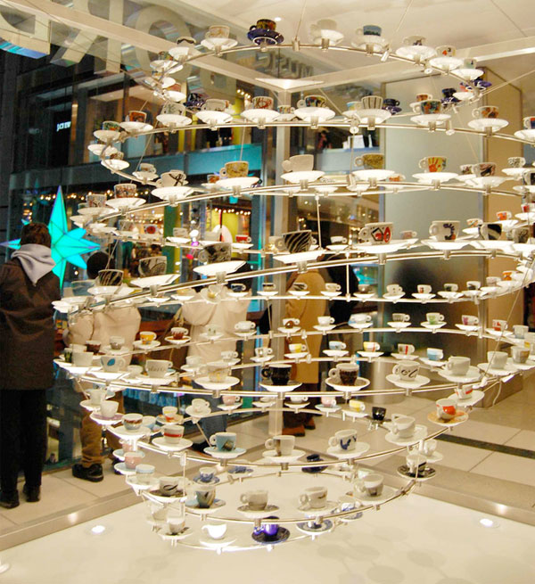 repurposed teacup installation art store display