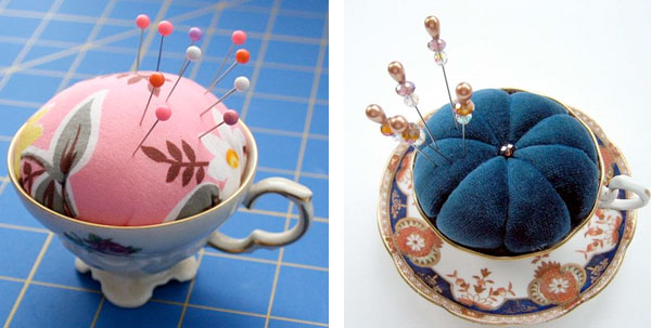 repurposed teacup pin cushions