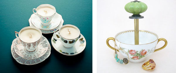 repursosed teacup candles and jewelry holder dish