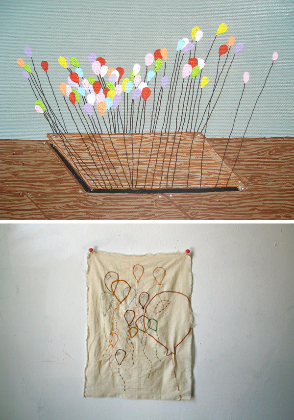 Balloons: painting by cindi and embroidery by Mia Christopher