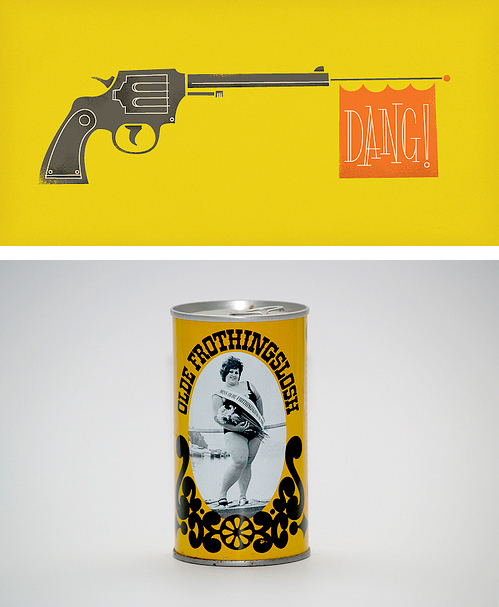 yellow illustration by brent couchman and olde frothingslosh beer