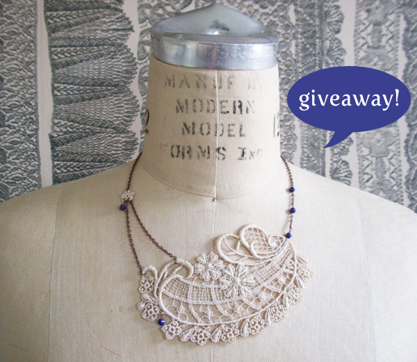 blog giveaway for handmade lace necklace from Tree & Kimball