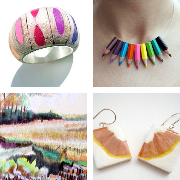 colored pencil art and jewelry