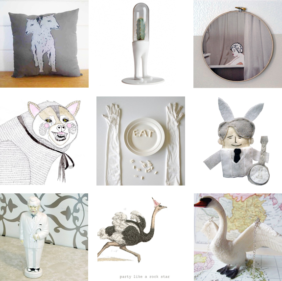 Collection of white crafts, vintage and art