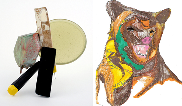 sculptural brooch by Nick Mullins; bear illustration by Eric Shaw