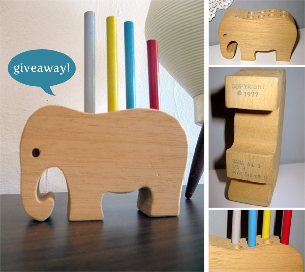 blog giveaway: vintage wooden elephant pencil holder