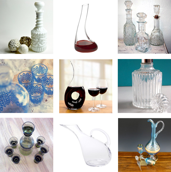 vintage and new glass wine decanters