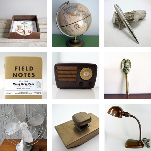 handmade & vintage home decor for a gentleman's study