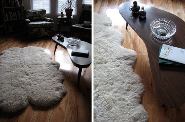 mod interior design, sheepskin rug
