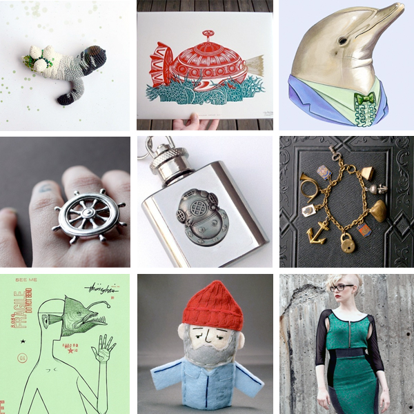 handmade art & craft from Etsy; Jacques Cousteau