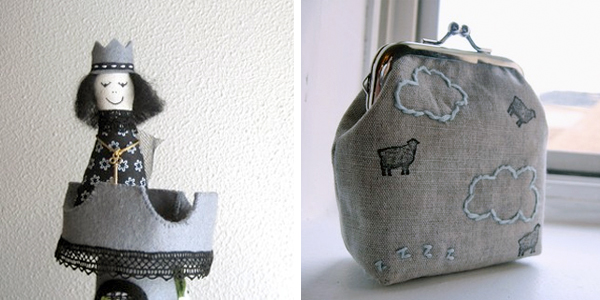 black and grey; queen tower toy; sheep & cloud coin purse