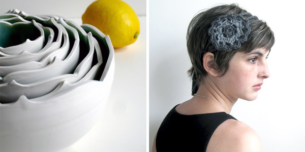 gray ceramic bowls and crochet headband