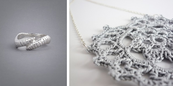 silver worm ring; grey crochet necklace