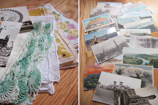vintage postcards and hankie save-the-date