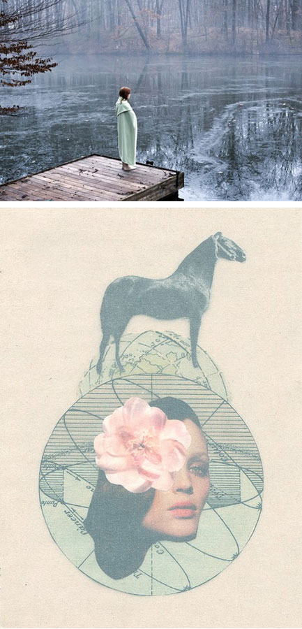 Photograph by Rebecca Finch paired with collage by Francisca Pageo