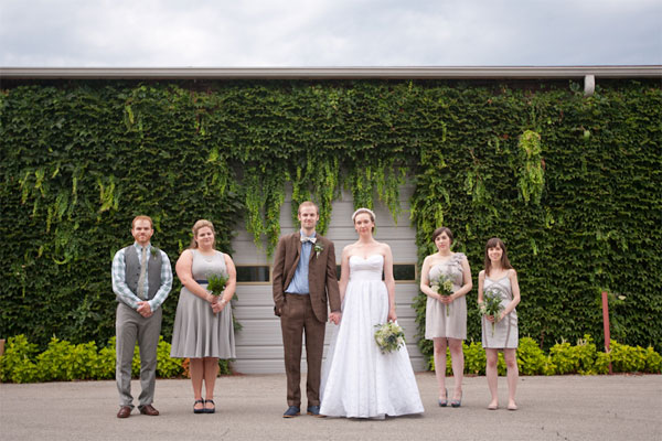 industrial meets rustic garden wedding party