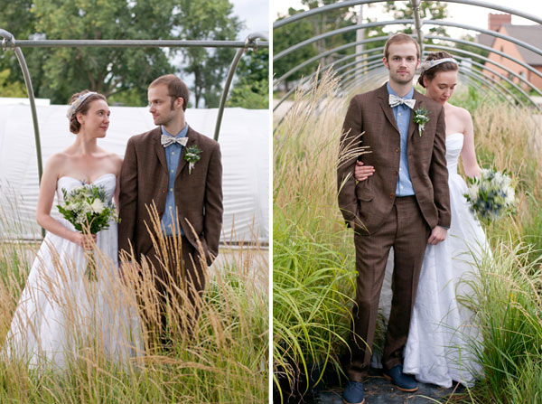 newlyweds in tall grass