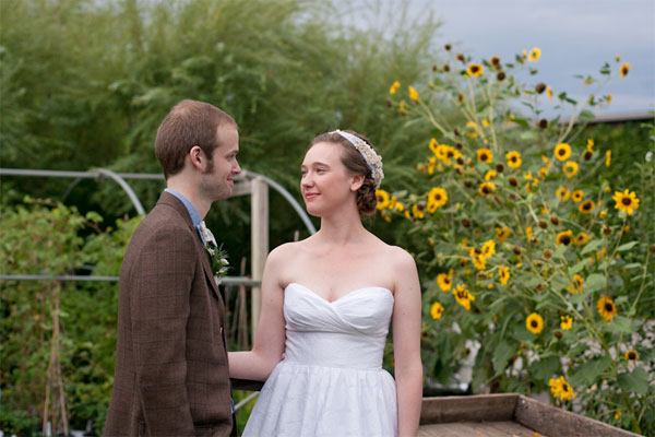 sunflowers, storm clouds, and newlyweds