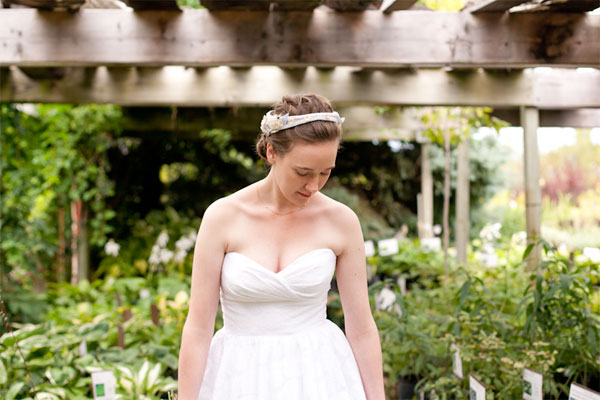 bride in a lush green garden