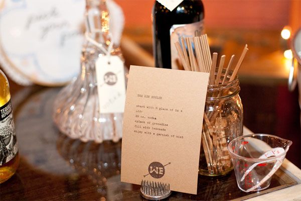 West Ervin wedding drink recipe card