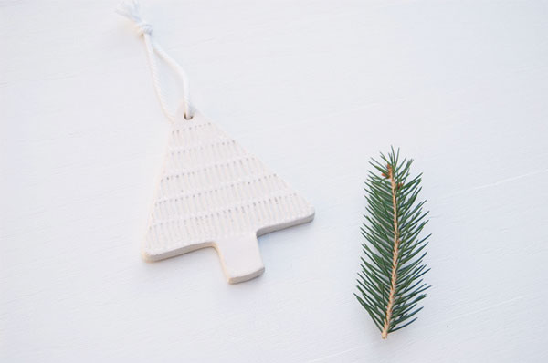 white clay christmas tree ornament