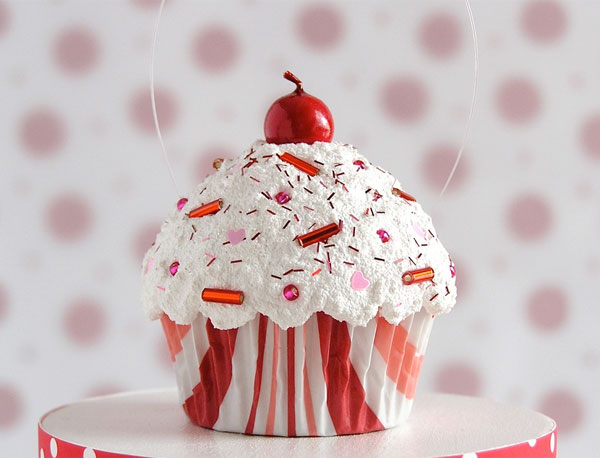 red cupcake with sprinkles ornament