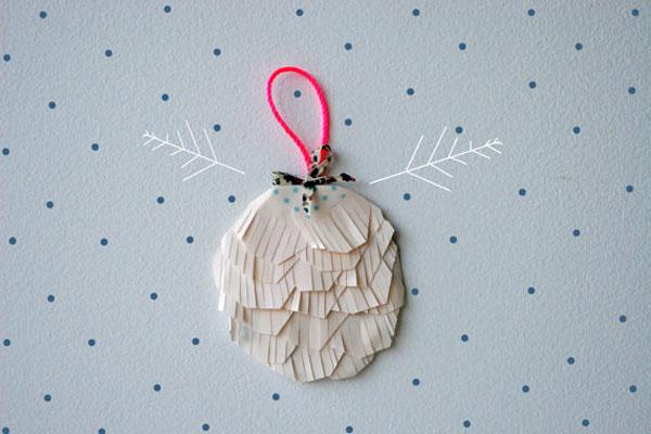 white paper fringe ornament