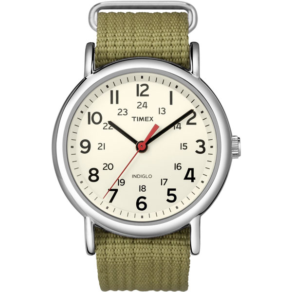 timex watch in olive green