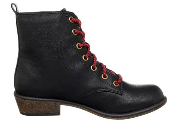 Dirty Laundry black boots with red laces