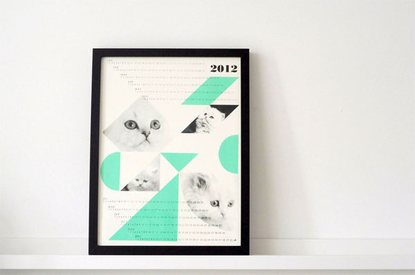 handmade 2012 cat calendar from Field Guided