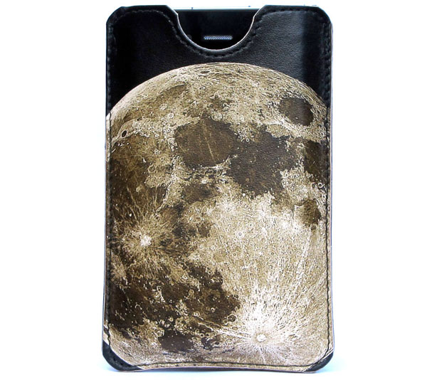 handmade leather moon iPhone case