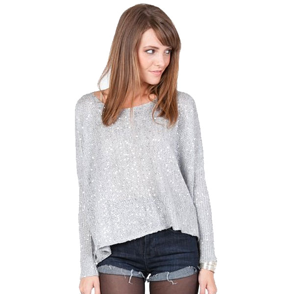 silver sequin women's sweater