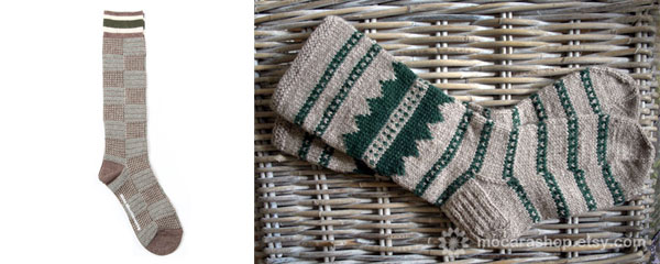 green and grey winter socks