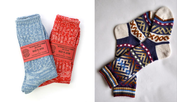 red, light blue, and fair isle socks