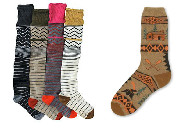 striped, zig-zag, and log cabin socks