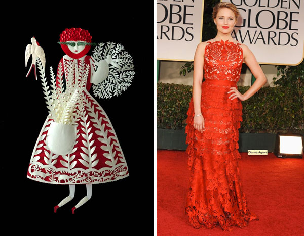 paper cut by Elsa Mora; Diana Agron at Golden Globes
