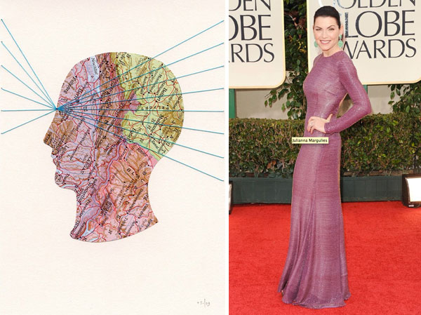 collage by selflesh; Julianna Margulies at Golden Globes