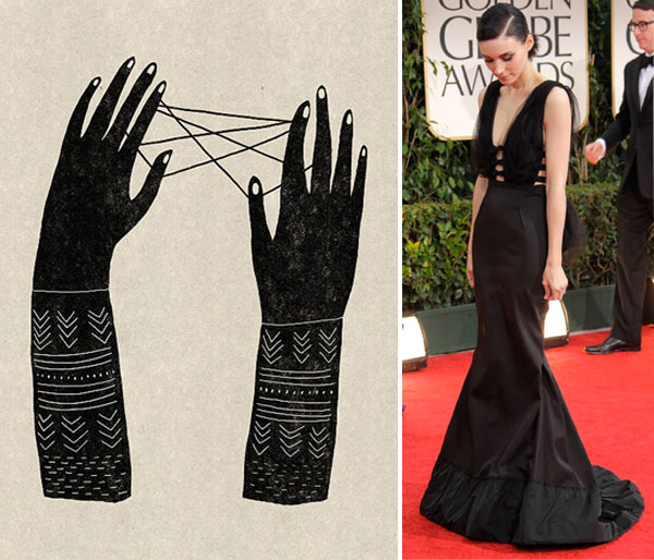illustration by mathilde aubier; Rooney Mara at Golden Globes