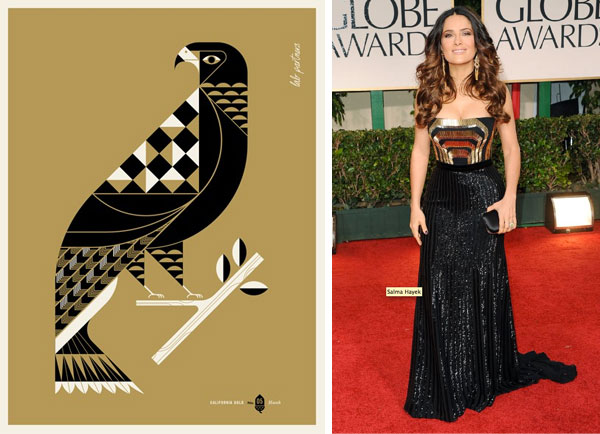 California Gold by Lab Partners; Salma Hayek at Golden Globes