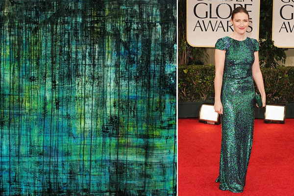 painting by Mia Tarducci Henry; Kelly Macdonald at Golden Globes