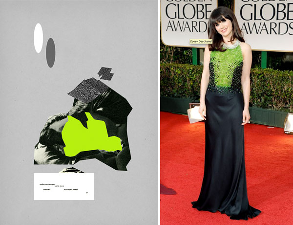 collage by Genadii Berёzkin; Zooey Deschanel at Golden Globes