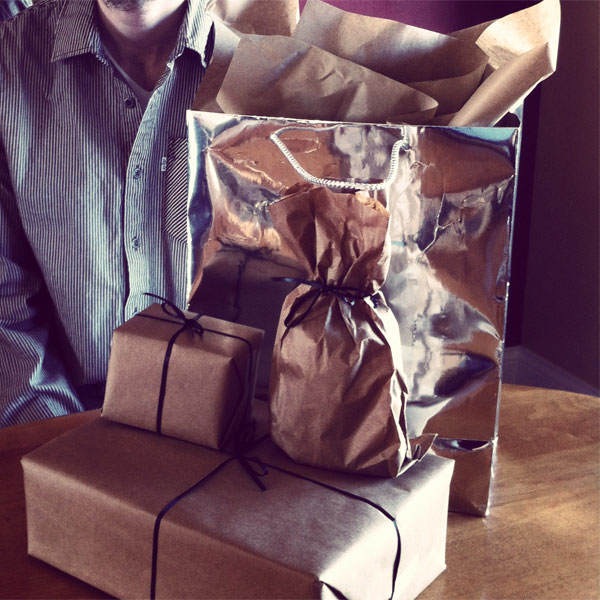 kraft paper wrapped presents